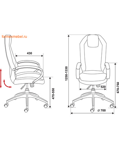 Кресло руководителя Бюрократ AURA (фото, вид 1)