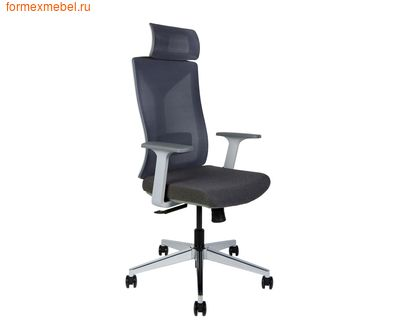 Компьютерное кресло NORDEN БОСТОН белый пластик, ткань серая (фото)