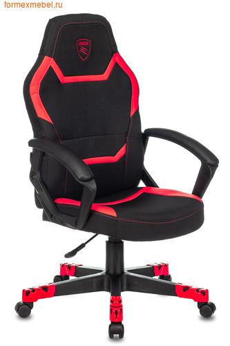 Компьютерное игровое кресло Бюрократ ZOMBIE 10 черная ткань + красная иск. кожа (фото)