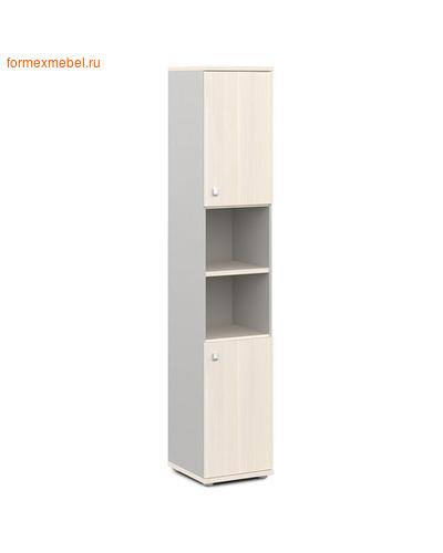 Шкаф для документов ЭКСПРО V-504 узкий полузакрытый дуб кобург/металлик (фото)