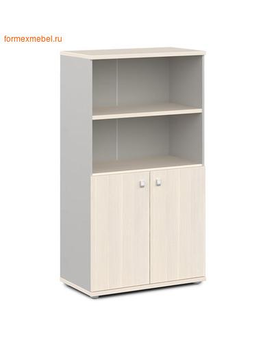 Шкаф для документов ЭКСПРО V-663 средний полузакрытый дуб кобург/металлик (фото)
