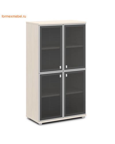 Шкаф для документов ЭКСПРО V-669 средний со стеклом Дуб Кобург/ металлик (фото)