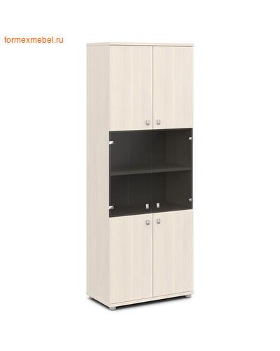 Шкаф для документов ЭКСПРО V-633 со стеклом дуб кобург/металлик (фото)