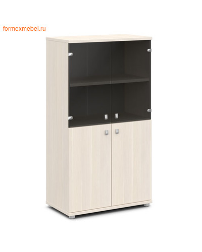 Шкаф для документов ЭКСПРО V-664 средний со стеклом дуб кобург/металлик (фото)