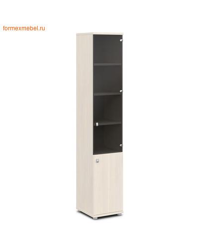 Шкаф для документов ЭКСПРО V-502лев./прав узкий со стеклом дуб Кобург/металлик, левый (фото)