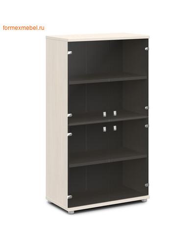 Шкаф для документов ЭКСПРО V-668 средний со стеклом дуб Кобург/металлик (фото)
