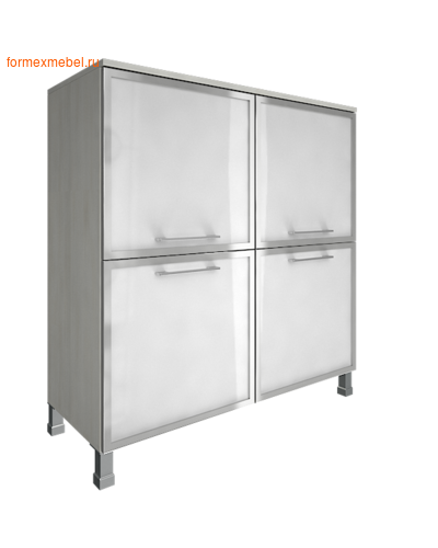 Шкаф для документов квадратный со стеклом LT-SD 4R white снежная патина (фото)