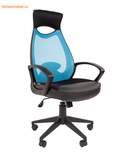 Компьютерное кресло Chairman СН-840 Black голубое (фото)