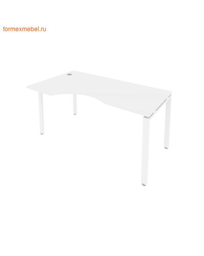 Стол рабочий эргономичный Б.СА-1Л 160 см белый/белый металл (фото)
