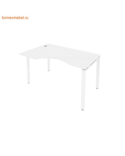 Стол рабочий эргономичный Б.СА-2 Лев 140 см белый/белый металл (фото)