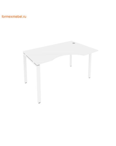 Стол рабочий эргономичный Б.СА-2 Правый 140 см белый/белый металл (фото)