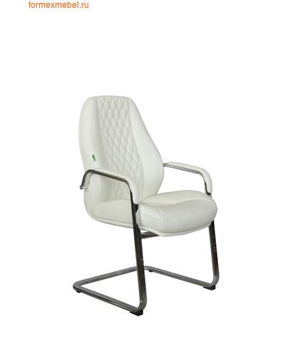 Кресло для посетителей офисное Рива F385 белая кожа (фото)