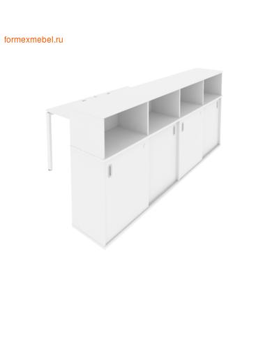Рабочая станция с опорным шкафом-купе Б.СШК-4.1 белый/белый металл (фото)