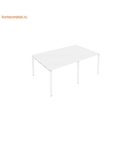 Стол для совещаний Б.ПРГ-2.1 (2 столешницы) белый/белый металл (фото)