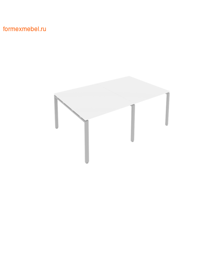 Стол для совещаний Б.ПРГ-2.1 (2 столешницы) белый/серый металл (фото)