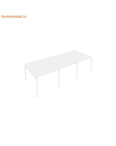 Стол для совещаний Б.ПРГ-3.1 (3 столешницы) белый/белый металл (фото)