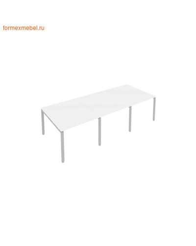 Стол для совещаний Б.ПРГ-3.1 (3 столешницы) белый/серый металл (фото)