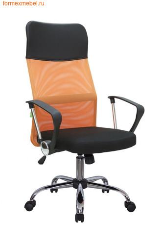 Компьютерное кресло Рива RCH 8074 черное сиденье-оранжевая  спинка-черный подголовник (фото)