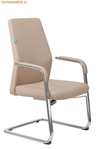 Кресло для посетителей офисное Бюрократ JONS-Low-V бежевая кожа (фото)