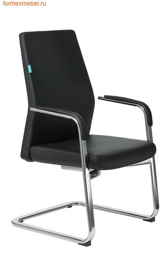 Кресло для посетителей офисное Бюрократ JONS-Low-V черная кожа (фото)