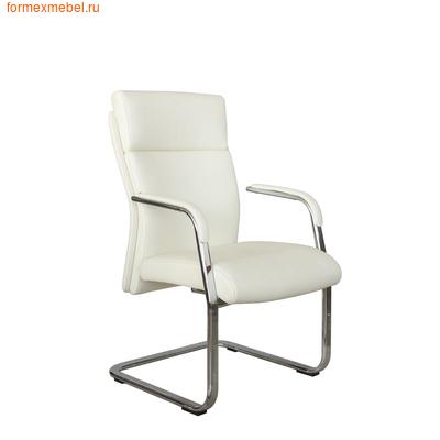 Кресло для посетителей офисное Рива C1511 белая кожа (фото)