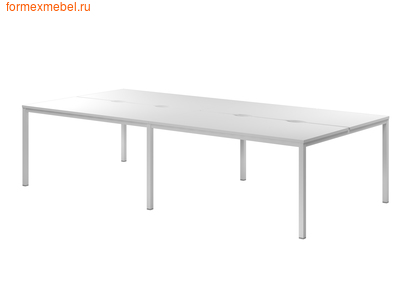 Бэнч-система столов ЭКСПРО CL-52 на металлокаркасе белый (фото)