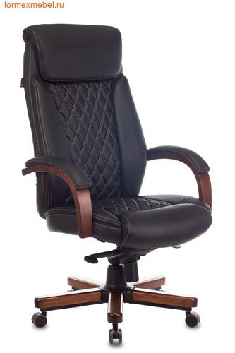 Кресло руководителя Бюрократ T-9924WALNUT ЧЕРНАЯ КОЖА (фото)